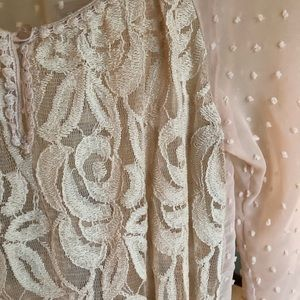 New Directions Sheer Blush Lace Top